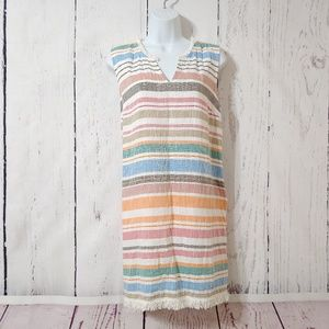 Chelsea & Theodore Striped Fringe Shift Dress